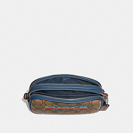 COACH F73066 CROSSBODY POUCH IN SIGNATURE CANVAS WITH RAINBOW COACH ANIMATION KHAKI/MULTI/SILVER