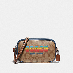 CROSSBODY POUCH IN SIGNATURE CANVAS WITH RAINBOW COACH ANIMATION - F73066 - KHAKI/MULTI/SILVER