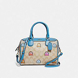 MINI BENNETT SATCHEL IN SIGNATURE CANVAS WITH PAC-MAN GHOSTS PRINT - F73067 - LIGHT KHAKI MULTI/GOLD