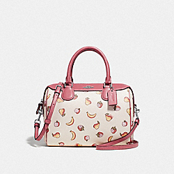 MINI BENNETT SATCHEL WITH MIXED FRUIT PRINT - F73068 - CHALK MULTI/SILVER