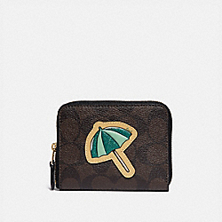 COACH F73069 - SMALL ZIP AROUND WALLET IN SIGNATURE CANVAS WITH MOTIF BROWN BLACK/GOLD