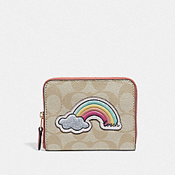COACH F73069 - SMALL ZIP AROUND WALLET IN SIGNATURE CANVAS WITH MOTIF LIGHT KHAKI/CORAL/GOLD