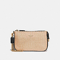 COACH F73071 Large Wristlet 19 NATURAL BLACK/GOLD