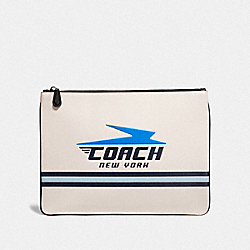 LARGE POUCH WITH VINTAGE COACH MOTIF - F73076 - CHALK