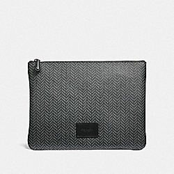 COACH F73077 Large Pouch With Herringbone Print BLACK/MULTI