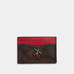 COACH F73079 Card Case In Signature Canvas With Fruit BROWN/BLACK/TRUE RED/GOLD