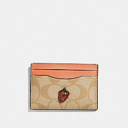 COACH F73079 - CARD CASE IN SIGNATURE CANVAS WITH FRUIT LIGHT KHAKI/CORAL/GOLD