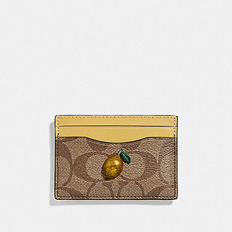 COACH F73079 CARD CASE IN SIGNATURE CANVAS WITH FRUIT KHAKI/SUNFLOWR