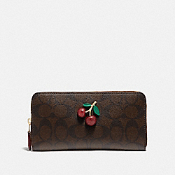 COACH F73081 - ACCORDION ZIP WALLET IN SIGNATURE CANVAS WITH FRUIT BROWN/BLACK/TRUE RED/GOLD