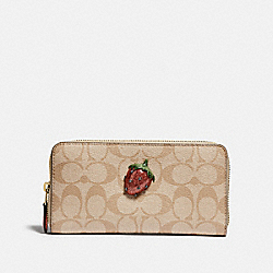 COACH F73081 - ACCORDION ZIP WALLET IN SIGNATURE CANVAS WITH FRUIT LIGHT KHAKI/CORAL/GOLD