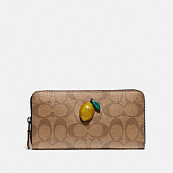 COACH F73081 Accordion Zip Wallet In Signature Canvas With Fruit KHAKI/SUNFLOWER