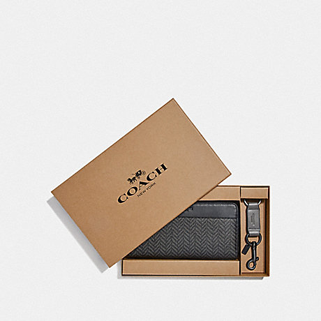 COACH F73110 BOXED ACCORDION WALLET GIFT SET WITH HERRINGBONE PRINT BLACK/MULTI