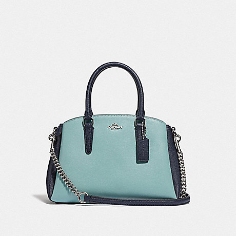COACH F73115 MINI SAGE CARRYALL IN COLORBLOCK SEAFOAM/MULTI/SILVER