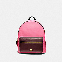 MEDIUM CHARLIE BACKPACK IN COLORBLOCK - F73116 - PINK RUBY/GOLD