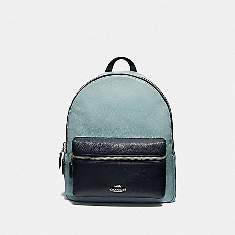 COACH F73116 MEDIUM CHARLIE BACKPACK IN COLORBLOCK<br>蔻驰中查理背包在拼色 水泡/MULTI/银