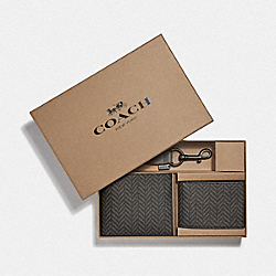 COACH F73117 Boxed 3-in-1 Wallet Gift Set With Herringbone Print BLACK/MULTI