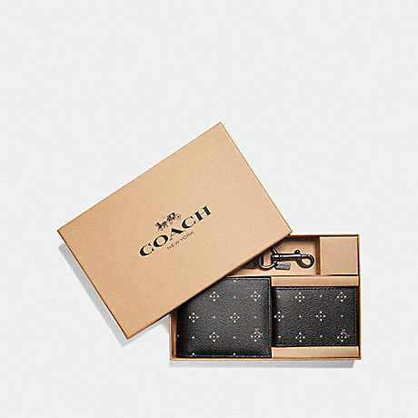 COACH F73118 BOXED 3-IN-1 WALLET GIFT SET WITH DIAMOND FOULARD PRINT BLACK/MULTI