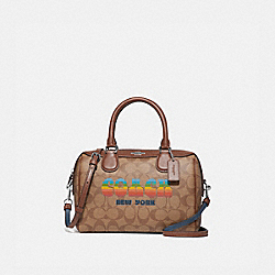 COACH F73119 - MINI BENNETT SATCHEL IN SIGNATURE CANVAS WITH RAINBOW COACH ANIMATION KHAKI/MULTI/SILVER