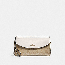 COACH F73121 Flap Clutch In Signature Canvas LIGHT KHAKI/CHALK/GOLD