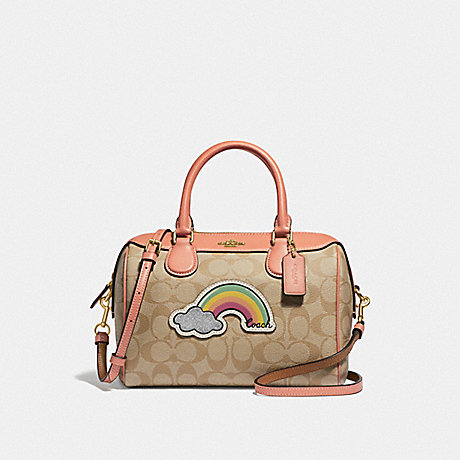 COACH F73122 MINI BENNETT SATCHEL IN SIGNATURE CANVAS WITH RAINBOW MOTIF NATURAL LIGHT CORAL/GOLD