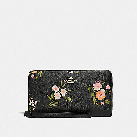 COACH LARGE PHONE WALLET WITH TOSSED DAISY PRINT - BLACK PINK/IMITATION GOLD - F73123