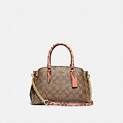 MINI SAGE CARRYALL IN SIGNATURE CANVAS - F73128 - LIGHT KHAKI/CORAL/GOLD