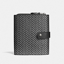 COACH F73129 Cord Organizer With Herringbone Print BLACK/MULTI