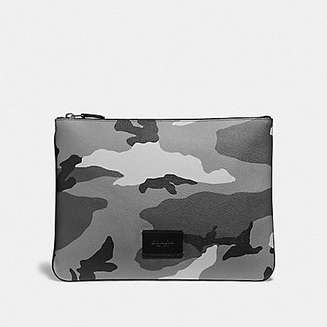 COACH F73137 LARGE POUCH WITH CAMO PRINT BLACK ANTIQUE NICKEL/BLACK MULTI