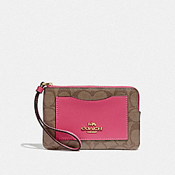 COACH F73142 Corner Zip Wristlet In Colorblock Signature Canvas KHAKI/GOLD
