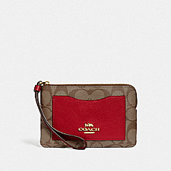COACH F73142 - CORNER ZIP WRISTLET IN COLORBLOCK SIGNATURE CANVAS IM/TRUE RED MULTI