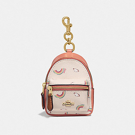 COACH F73143 BACKPACK COIN CASE WITH ALLOVER RAINBOW PRINT CHALK/LIGHT CORAL/GOLD