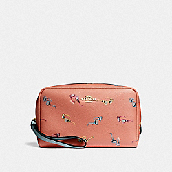 BOXY COSMETIC CASE WITH SUNGLASSES PRINT - F73145 - LIGHT CORAL/MULTI/GOLD