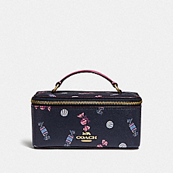 COACH F73147 Vanity Case With Scattered Candy Print NAVY/MULTI/PINK RUBY/GOLD