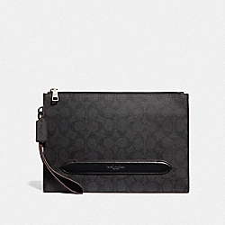 COACH F73148 - STRUCTURED POUCH IN SIGNATURE CANVAS BLACK/OXBLOOD