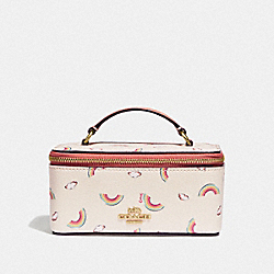 COACH F73149 - VANITY CASE WITH ALLOVER RAINBOW PRINT CHALK/LIGHT CORAL/GOLD