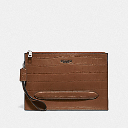 STRUCTURED POUCH - F73151 - SADDLE