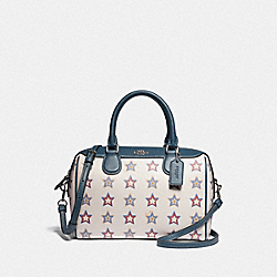 MINI BENNETT SATCHEL WITH WESTERN STAR PRINT - F73154 - SILVER/CHALK MULTI