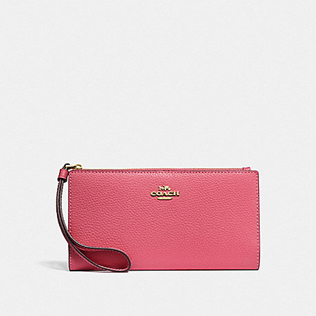 COACH F73156 LONG WALLET PINK RUBY/GOLD