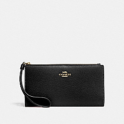 COACH F73156 - LONG WALLET BLACK/IMITATION GOLD