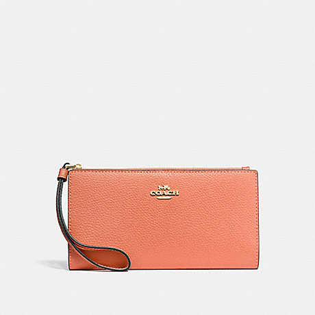 COACH F73156 LONG WALLET LIGHT CORAL/GOLD