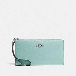 COACH F73156 - LONG WALLET SEAFOAM/SILVER