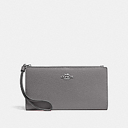 COACH F73156 Long Wallet HEATHER GREY/SILVER