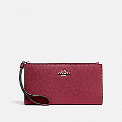 COACH F73156 - LONG WALLET SV/DARK FUCHSIA