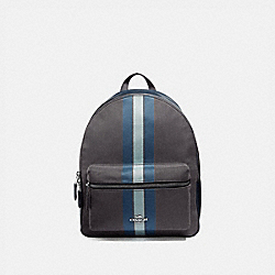 MEDIUM CHARLIE BACKPACK IN SIGNATURE JACQUARD WITH VARSITY STRIPE - F73158 - MIDNIGHT BLUE/SILVER