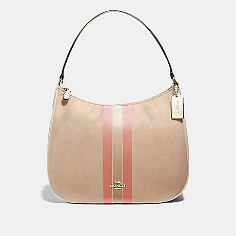 COACH F73159 ZIP SHOULDER BAG IN SIGNATURE JACQUARD WITH VARSITY STRIPE LIGHT KHAKI/CORAL/GOLD
