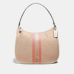 ZIP SHOULDER BAG IN SIGNATURE JACQUARD WITH VARSITY STRIPE - F73159 - LIGHT KHAKI/CORAL/GOLD
