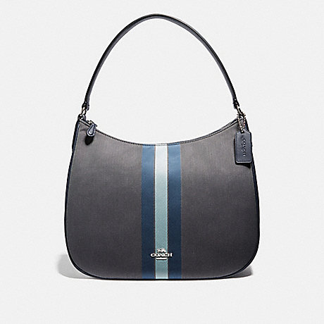 COACH F73159 ZIP SHOULDER BAG IN SIGNATURE JACQUARD WITH VARSITY STRIPE MIDNIGHT BLUE/SILVER