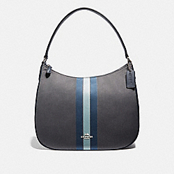 ZIP SHOULDER BAG IN SIGNATURE JACQUARD WITH VARSITY STRIPE - F73159 - MIDNIGHT BLUE/SILVER
