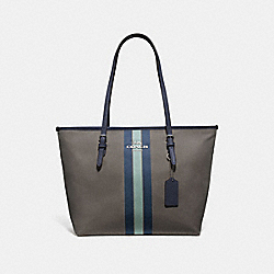 ZIP TOP TOTE IN SIGNATURE JACQUARD WITH VARSITY STRIPE - F73160 - MIDNIGHT BLUE/SILVER