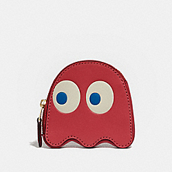 COACH F73165 Pac-man Ghost Coin Case WASHED RED/GOLD